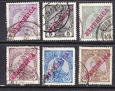 Portugal postage stamps -1910 Repubilca Overprint - 6 x  Used