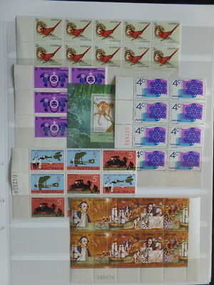 Australia 10 Large Stock Pages of MNH Blocks, Part Sheets Imprint Blocks