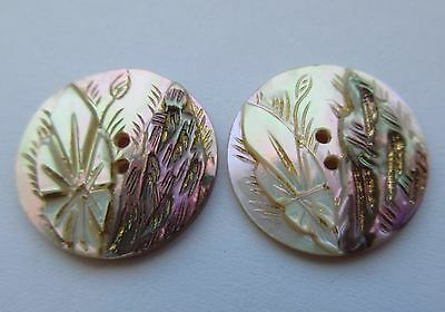 Gorgeous Lot of 2 Antique~ Vtg Carved MOP Shell BUTTONS w/ Incised Gold Luster