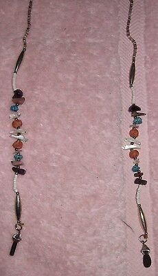 American Indian Necklace Eyeglass Chain Stones Rare Vintage Eyeglass Chain