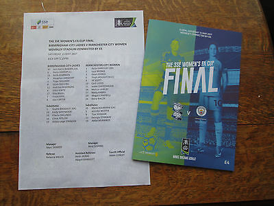 BIRMINGHAM CITY LADIES v MANCHESTER CITY WOMEN [FA CUP FINAL] +T/SHEET 13/5/2017