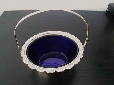 Beautiful Vintage epns (Sugar?) Bowl with handle and blue glass liner