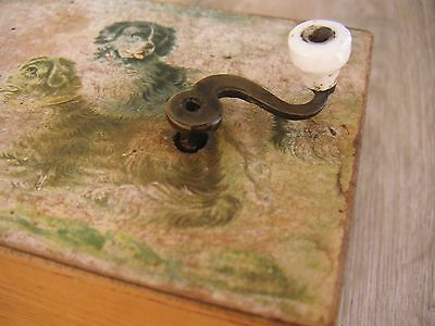 Museal Viktorian Antique Hand Crank Cylinder Music Box German Litho Dog Spieluhr