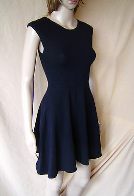 Womens Topshop Sleeveless Little Black Skater Dress Uk Size 8 Eu 36