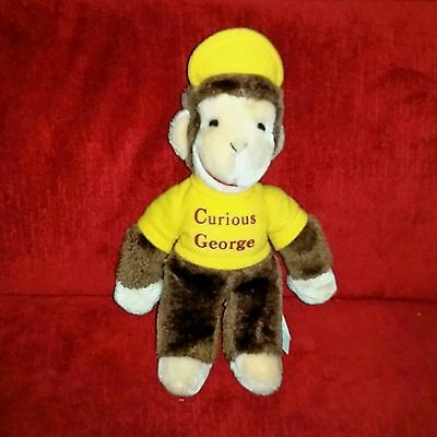 Vintage Eden Curious George Monkey 11in Brown Soft Plush Yellow Shirt Hat 1984