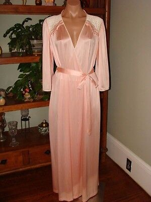 "Ladies/Womens Vintage Vanity Fair Long Nylon Robe - Bust to 48"" - Pink"