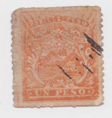 1863-1875 Costa Rica - Coat Of Arms - Orange One Peso Stamp - PROBABLE FAKE!