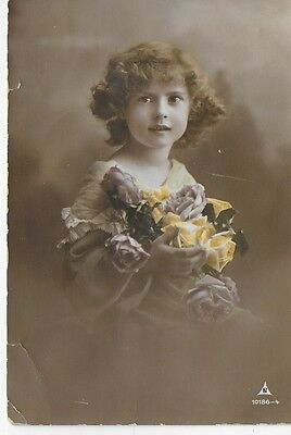 Vintage Postcard Young Girl with Flowers Unposted