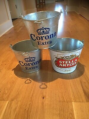 3 Brand New Beer Buckets 2 x Corona and 1 x Stella