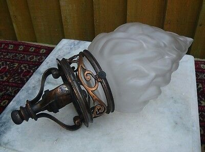 Antique Edwardian Art Nouveau Glass Flame Light Shade & Ornate Copper Gallery