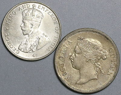 1886 1920 STRAITS SETTLEMENTS Silver 50 cents LOT of TWO Coins (17032215R)