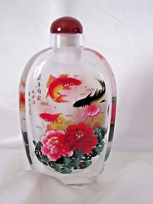 Chinese Red Black Carp Inside Hand Painted Glass Snuff Bottle Gift Box New