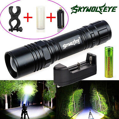 Tactical XM-L T6 LED Flashlight Zoom Torch Light Lamp + 18650 Battery + Charger