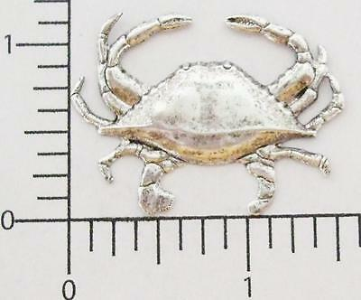 48144        2 Pc. Matte Silver Oxidized Large Dungeness Crab Jewelry Finding