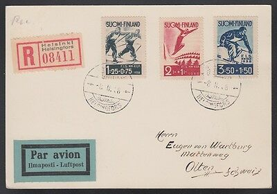 Finland 1938 Skiing Set FIS on Registered Cover (Card) to Switzerland