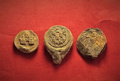 Lot of 3 Medieval Lead Seal 14. Century