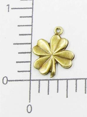 53313        2 Pc Brass Oxidized 4-Leaf Clover Charm Jewelry Finding