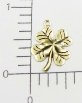 53363        4 Pc Brass Oxidized 4-Leaf Clover Charm Jewelry Finding