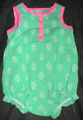 Carter's Sleeveless Romper-Green*pink & White-Size 3 Months-Nwt