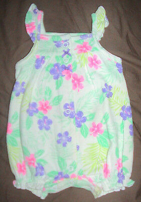 Carter's Sleeveless Romper-White/purple*pink & Green Flowers-Size 3 Months-Nwt