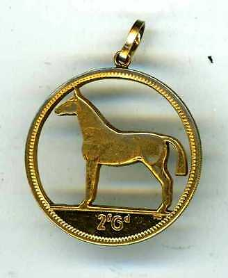 CUPRO NICKEL IRISH 2/6d. COIN PENDANT - DEPICTING CUT OUT STANDING HORSE