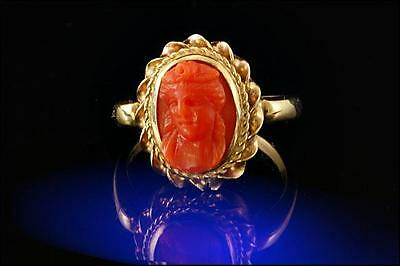 Antique Victorian Natural Carved Red Salmon Coral Cameo 14K Gold Ring