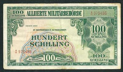 "Austria 1944 One Hundred Shilling Banknote ""ww Ii"" #3934 $1.00 Ship"