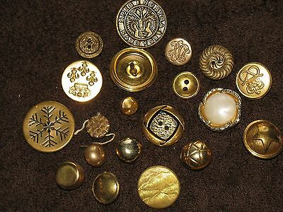 Lot of 20 Different --  Gold Vintage // Antique Buttons  - All sizes and types