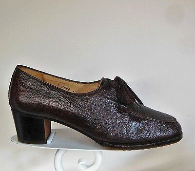 Vintage Italian Shoes Women's 9 Lace Up Oxford Brown leather Italy