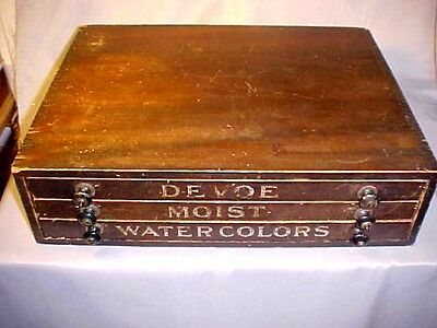 Antique Devoe Moist Watercolors Wood Paint Box Store Display for Artists Paints