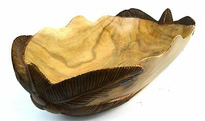 Hand Carved Wood Tropical Palm Tree Fruit Bowl Box Sculpture Center Piece Decor