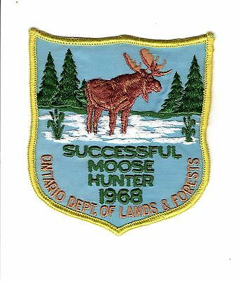 1968 Ontario Mnr Moose Hunter Patch-Michigan Dnr Deer-Bear-Crest-Badge-Elk-Fish