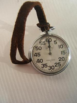 Vintage Silver Tone Horsemans S Stop Watch W/ Leather Strap