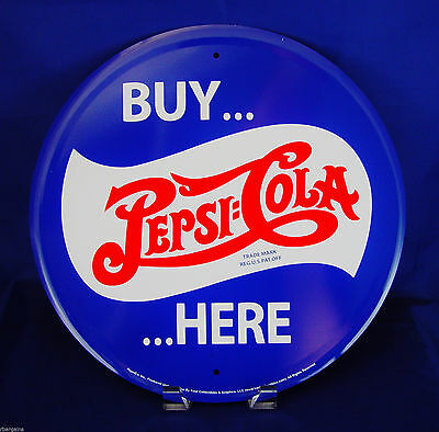 Pepsi Cola Buy Here Round Metal Tin Sign Soda Bar Vintage Style Pop Kitchen Blue