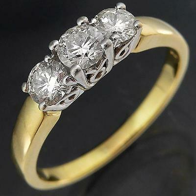 Very Lively Trilogy 3 DIAMOND 18k Solid Yellow & White GOLD ETERNITY RING Sz O