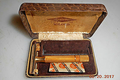 VINTAGE GILLETTE MILORD GOLD PLATED SAFETY RAZOR IN BOX #2 of 2