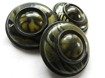 Lot Set of 3 Large Vintage Coat Buttons Green Marbled Celluloid