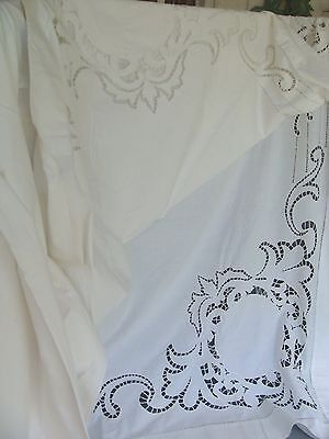 """Remarkable Early VTG~Antique Cotton Sheet~Hand Cut-Work Lace Across Top~102x106"""""""