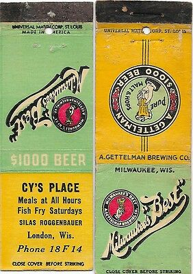 2 Milwaukee's Best Beer Matchbooks-London WI-Cy's Place
