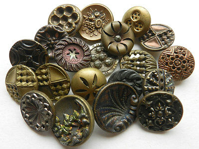 Variety Lot of 20 Small Antique Victorian Fancy Metal Buttons