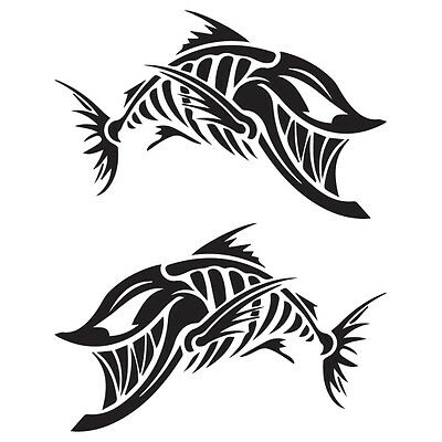 "(2x) 12.5"" Joker Fish Skeleton Decals Stickers Wake Fishing Bass Boat Tackle PWC"