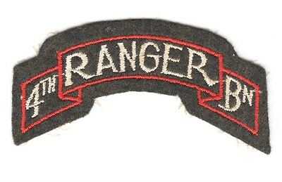Army Patch:  4th Ranger Battalion - WWII on brown felt