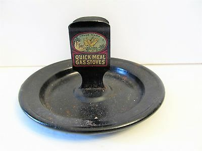 RARE Antique Quick Meal Gas Stoves Advertising Match Box Holder Ashtray