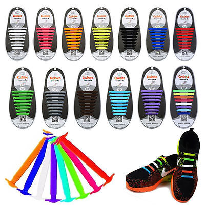 16 Colored No Tie Elastic Shoe Laces 100% Silicone Trainers Adult Kids Shoelaces