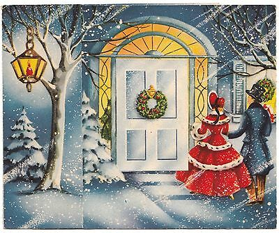Vintage Greeting Card Christmas Old-Fashioned Couple Front Movable Front Door