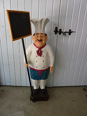 Vintage Chef Almost 4' Tall Store Or Resturant Display Statue With Menu Board