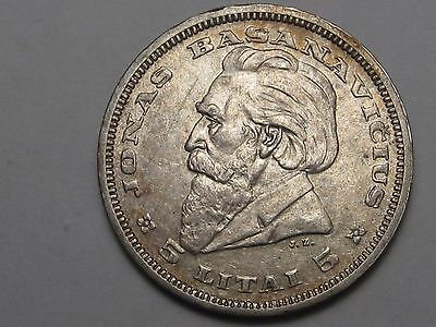 1936 Lithuania (Under USSR) Silver 5 Litus (Scratched).  #8