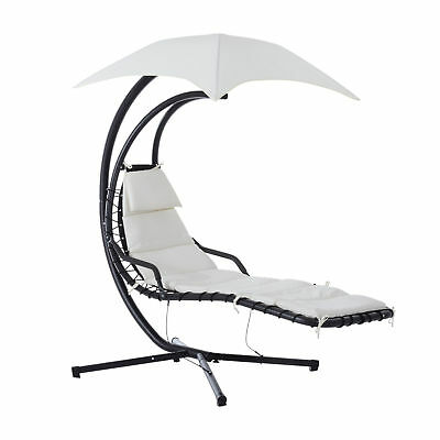 Outsunny Swing Chair Outdoor Hanging Hammock Chaise Lounge with Stand and Canopy