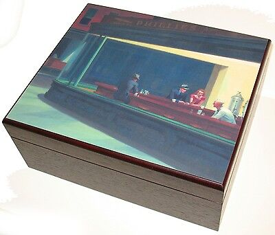 Edward Hopper Nighthawks Custom Art 50 Cigar Cherry Humidor Hygrometer Humidifie