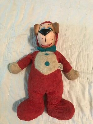 "1958 Huckleberry Hound plush 18"" Hanna Barbera Rubber Face Feather Foam Filled"